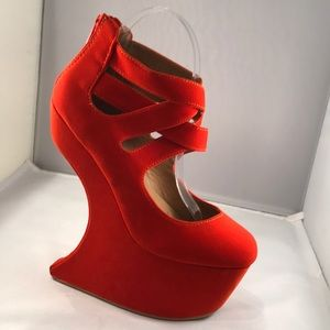 Bumper 6.5 orange / red suede-like heel-less shoe